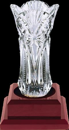Royal Glass Fanfare Vase On Rosewood Base