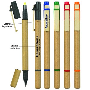 Recycled Pen and Highlighter Eco Friendly