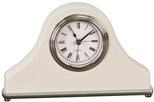 White Piano Wood Napoleon Style Mantel Clock