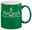 Green Ceramic Round C-Handle Mug -Personalized