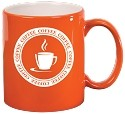 Orange Ceramic Round C-Handle Mug -Personalized