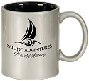 Silver Ceramic Round C-Handle Mug -Personalized