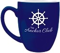Blue Ceramic Bistro Mug- Personalized