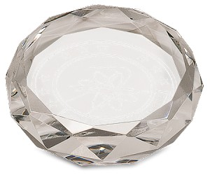 Crystal Round Faceted Paperweight