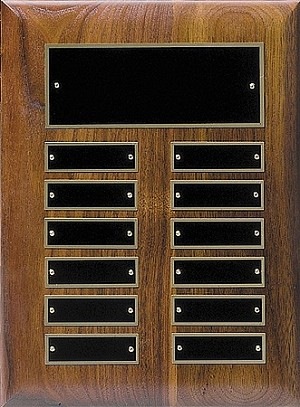 Hand Rubbed Walnut 12 Plate Perpetual Plaque