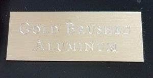 Engraved Brushed Gold Aluminum Plate