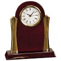 Rosewood and Gold Column Desk Clock