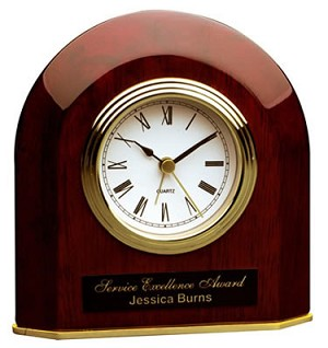 Rosewood Beveled Arch Desk Clock