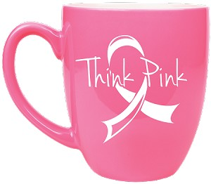Pink Ceramic Bistro Mug- Personalized