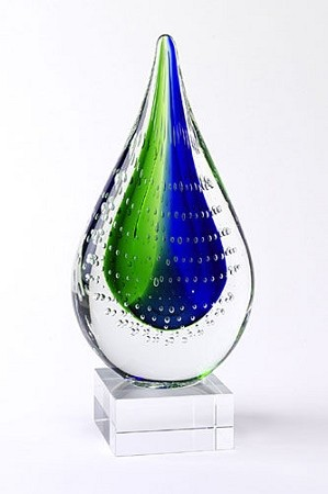 Blue Green Tears Art Glass