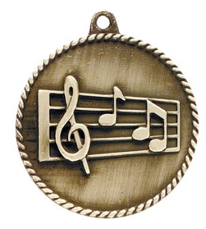 Music High Relief Medals 2""