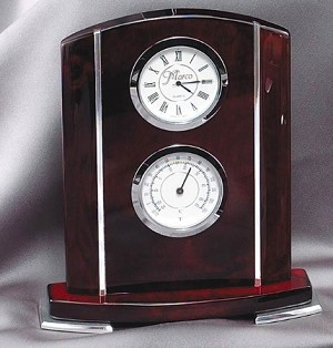 Chrome and Rosewood Barometer Clock