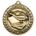 3D Book of Knowledge Wreath Medals 2 3/4