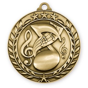 3D Music Wreath Medals 2 3/4""