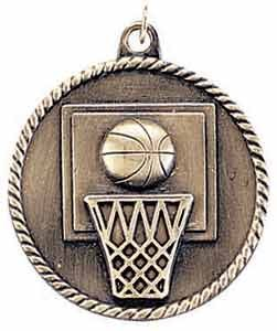 Basketball High Relief Medal 2""