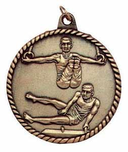 "Gymnastics High Relief 2"" Medal - Male"